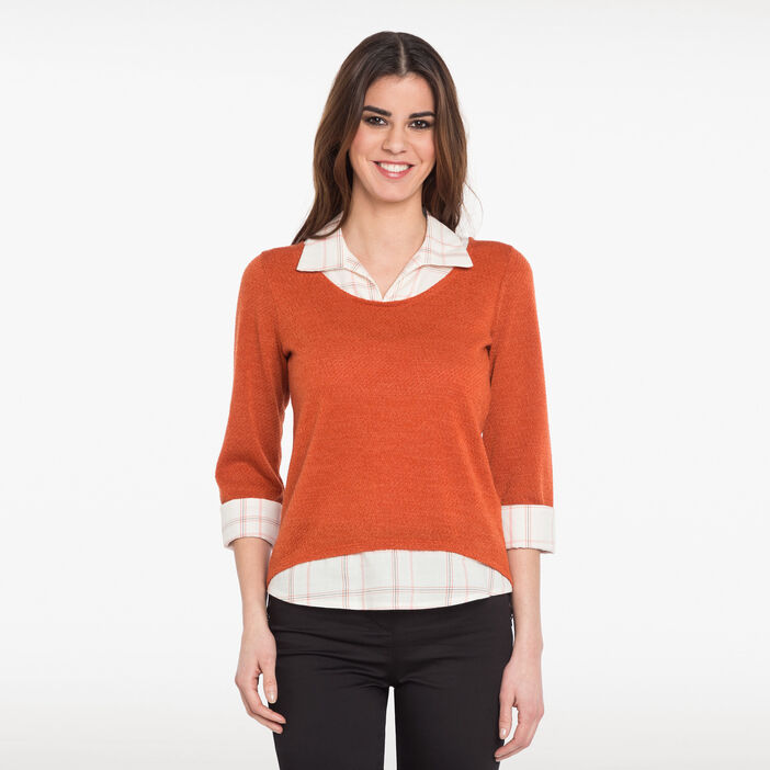 T-shirt 2 en 1 col chemise à carreaux orange femme