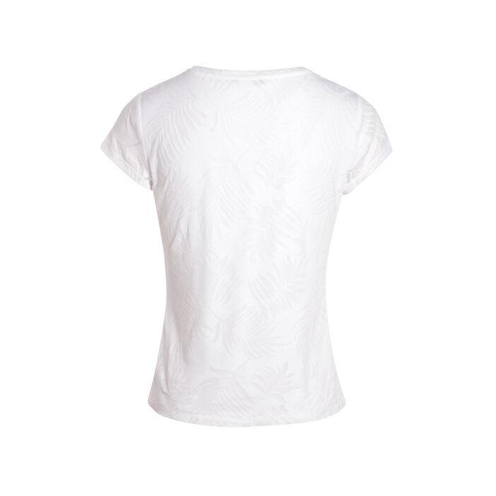 T-shirt manches courtes dévoré blanc femme