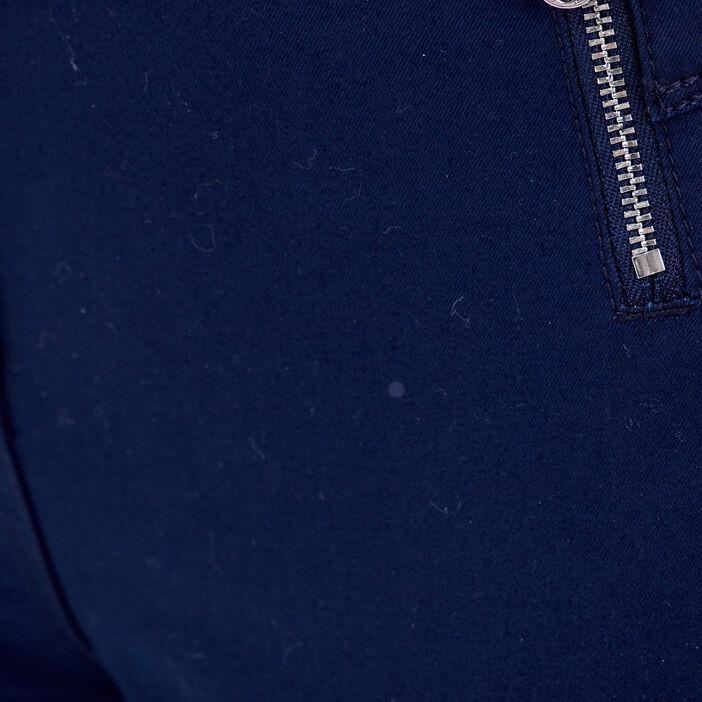 Pantacourt taille haute bleu marine femme