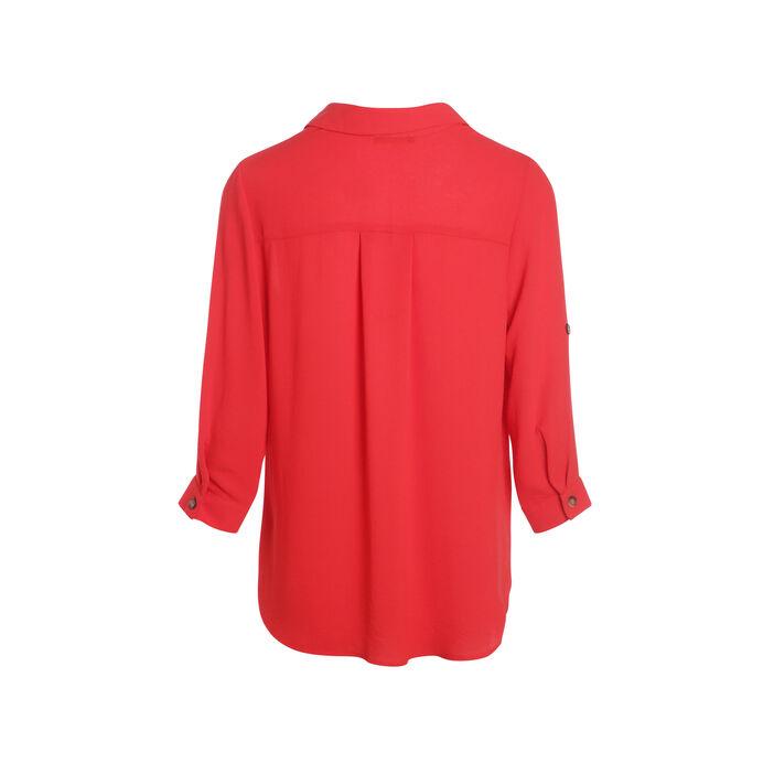 Chemise unie manches longues rouge femme
