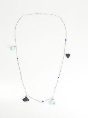 Sautoir perles a pompons bleu fonce femme