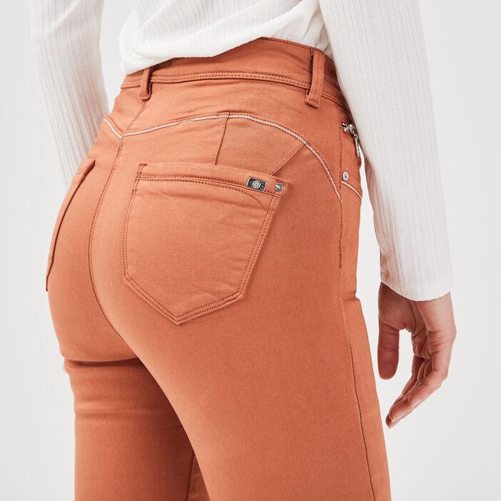 Pantalon ajusté taille haute marron cognac femme