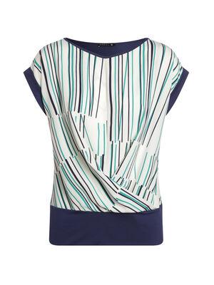 T shirt manches courtes imprime devant bleu fonce femme