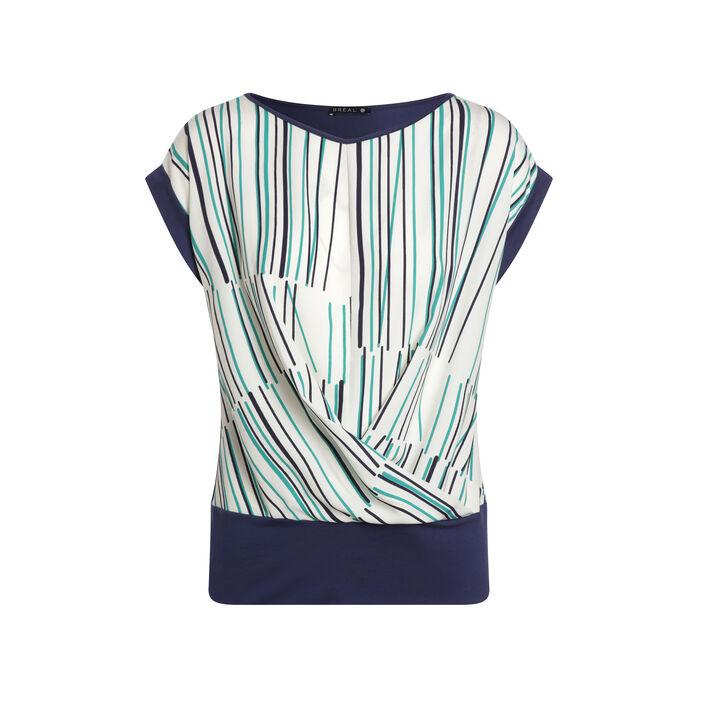 T-shirt manches courtes imprimé devant bleu foncé femme