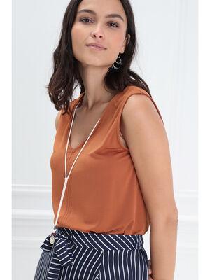 Debardeur bretelles larges orange fonce femme