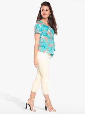 Pantalon ajuste liseres fantaisie jaune clair femme
