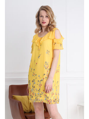 Robe courte droite a volants jaune femme