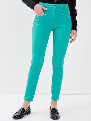 Pantalon ajuste taille standard vert menthe femme