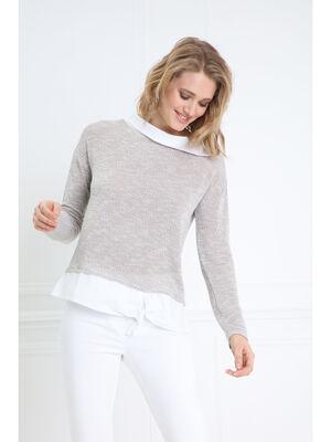 T shirt manches longues beige femme