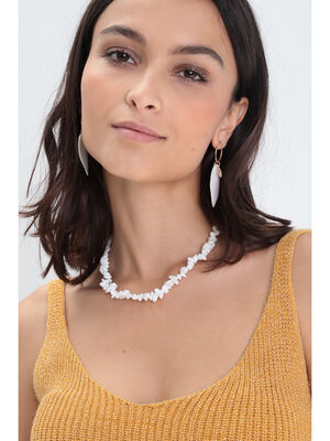 Collier court coquillages blanc femme