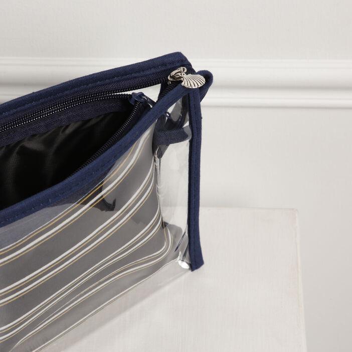 Trousse toilette transparente bleu foncé femme