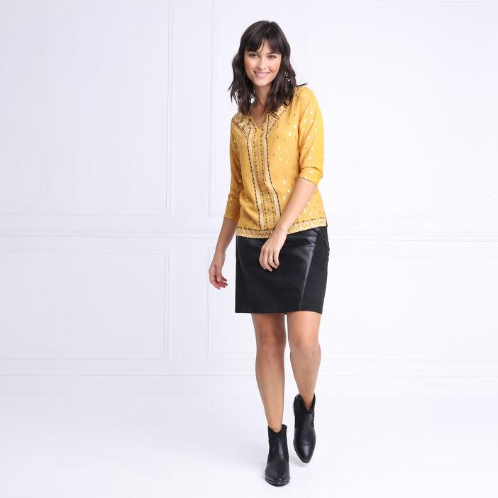 T-shirt manches 3/4 à strass jaune or femme
