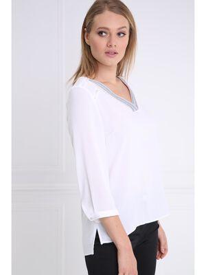 Chemise avec detail au col blanc femme