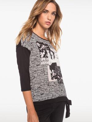 T shirt bimatiere motif fantaisie noir femme