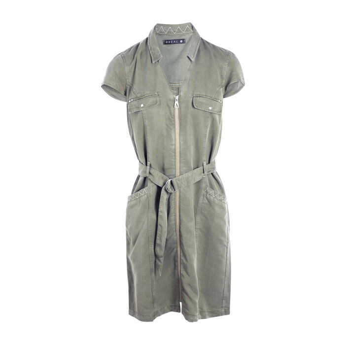 Robe courte droite zippée vert kaki femme