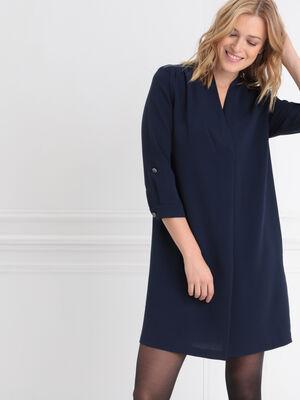 Robe droite col en V bleu marine femme