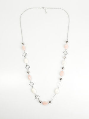 Sautoir geometrique a perles rose clair femme