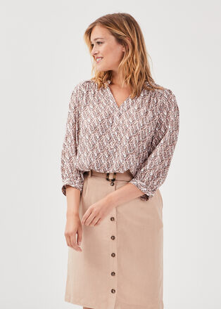 Blouse manches 34 rose poudree femme