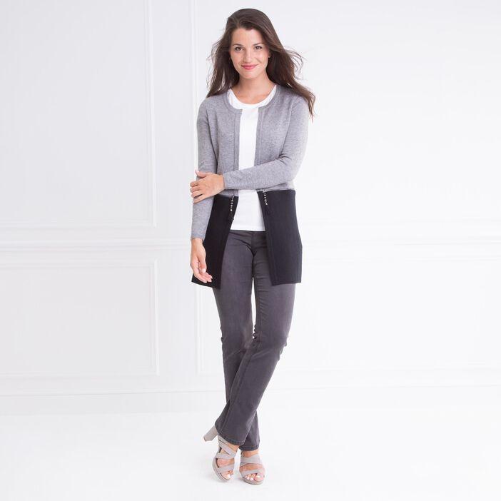 Gilet col rond bimatière zip gris clair femme