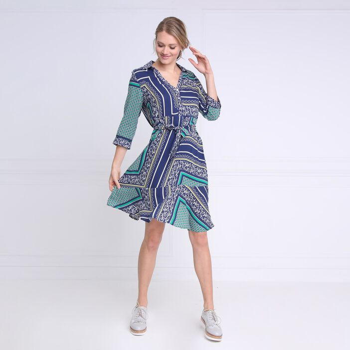 Robe courte évasée à ceinture bleu marine femme