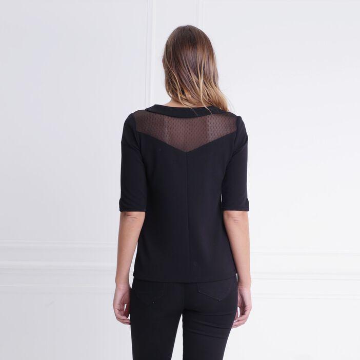 T-shirt col claudine détails plumetis noir femme