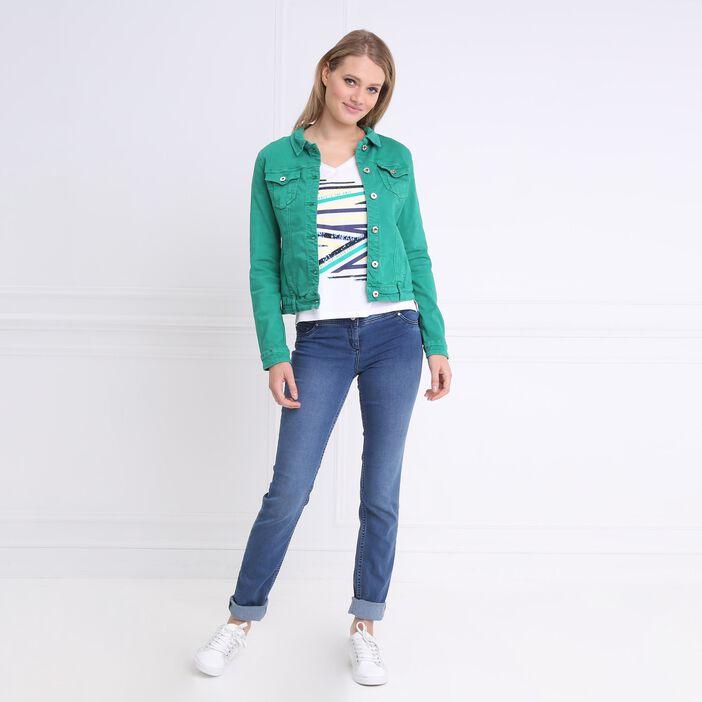 Veste en jean vert femme