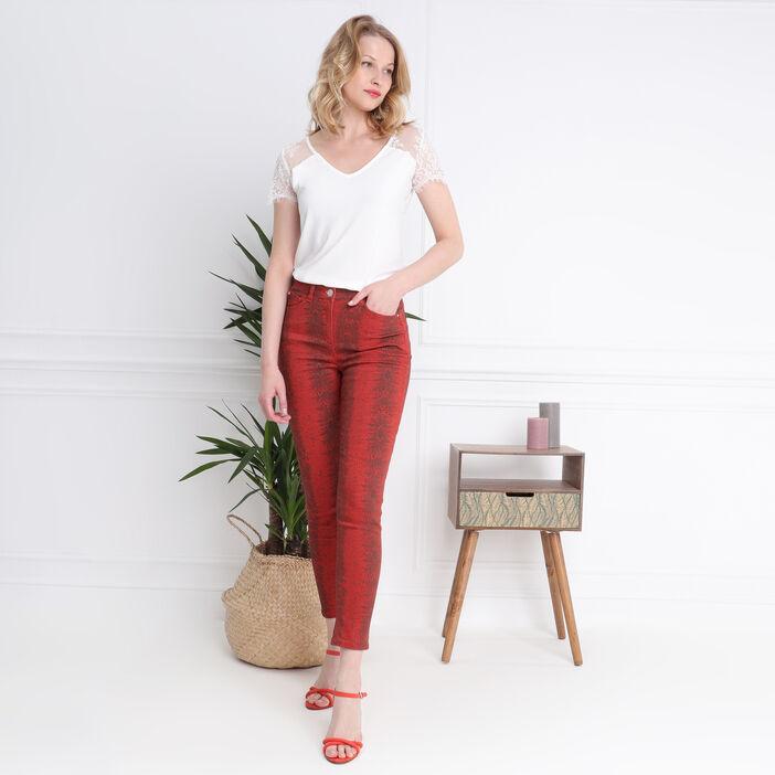 Pantalon 7/8 taille standard orange foncé femme