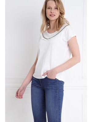 T shirt manches courte col avec franges ecru femme