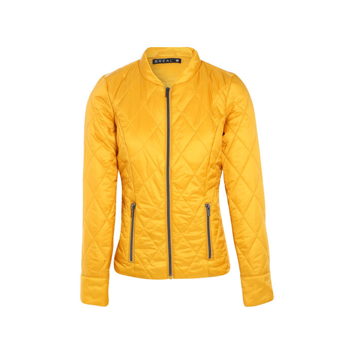 Doudoune cintrée zippée jaune or femme