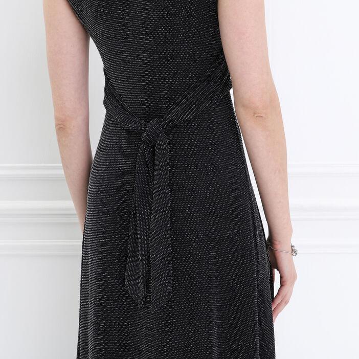 Robe longue évasée effet noué noir femme