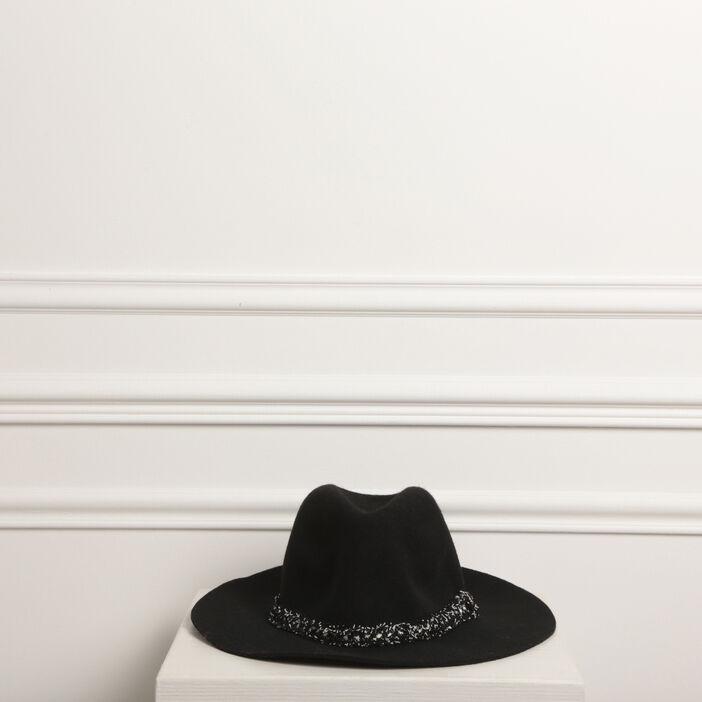 Chapeau feutrine bande noir femme