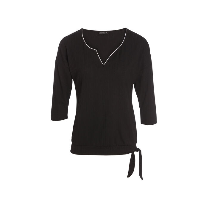 T-shirt manches 3/4 noir femme