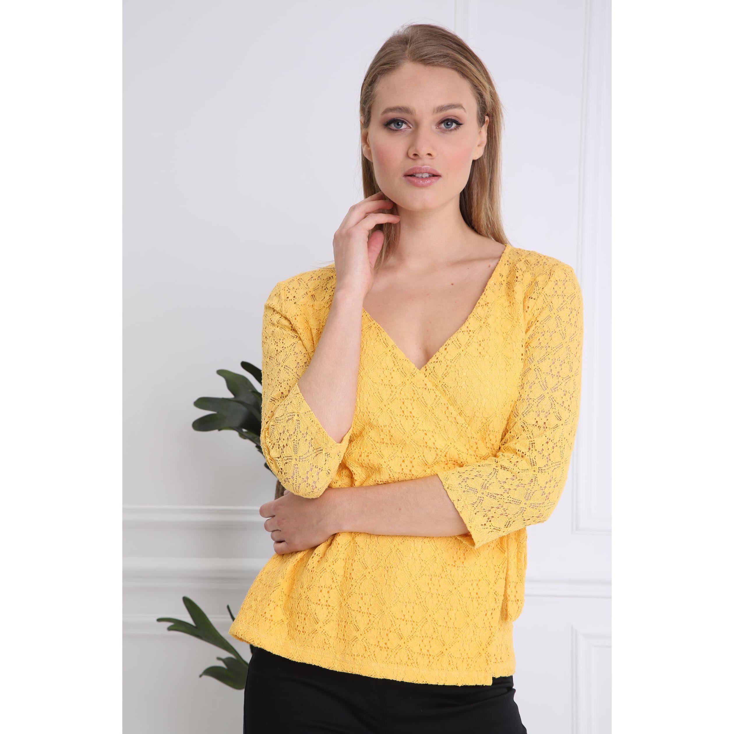 34 Col FemmeBréal Shirt Jaune Manches T V GSpUjzqMLV