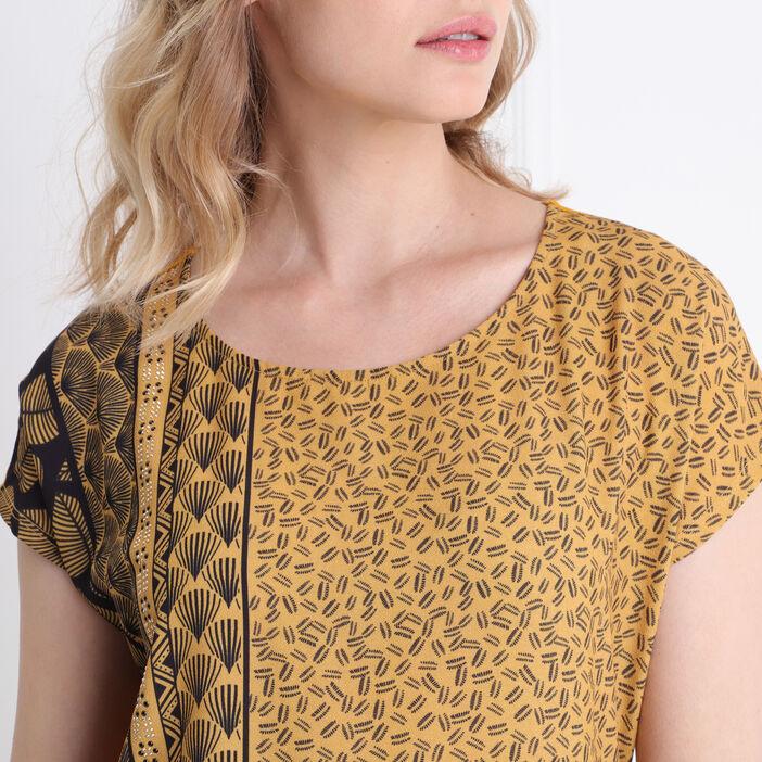 T-shirt manches courtes clous jaune or femme