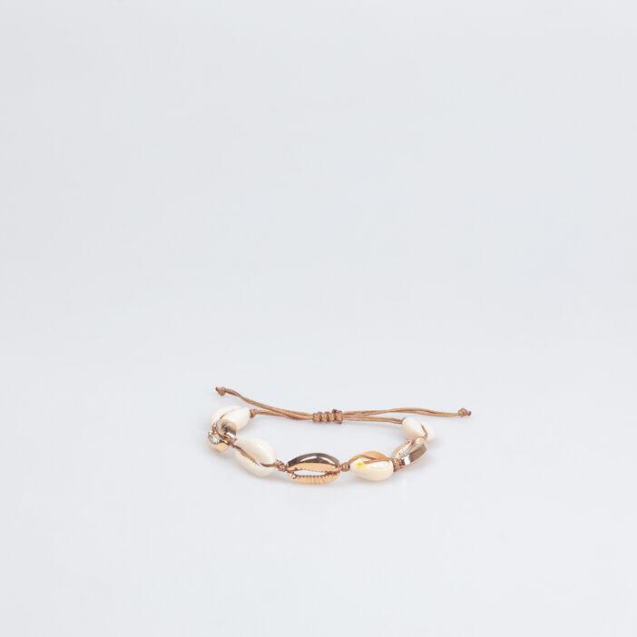 Bracelet ajustable coquillages blanc femme