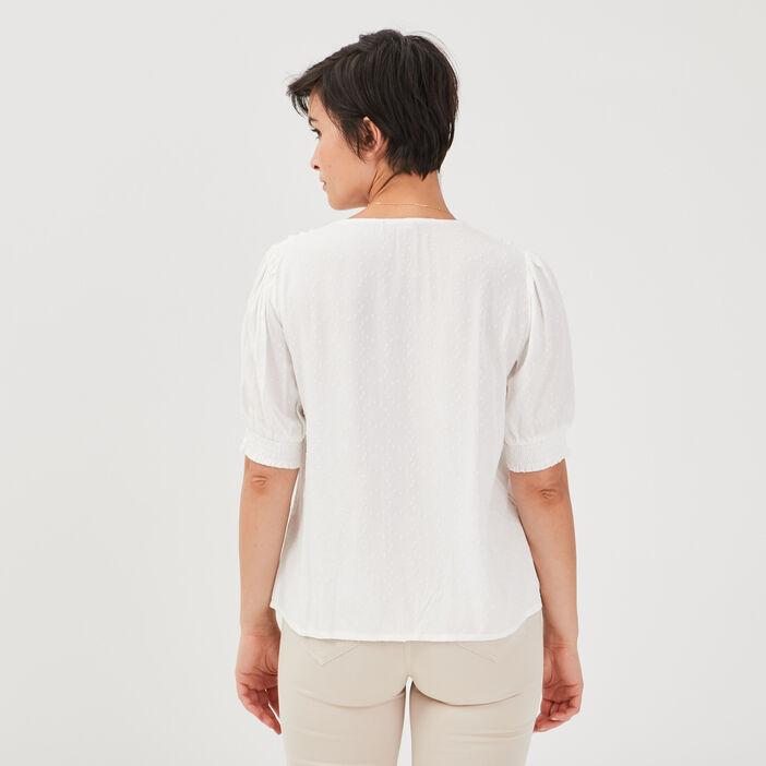 Chemise manches courtes creme femme