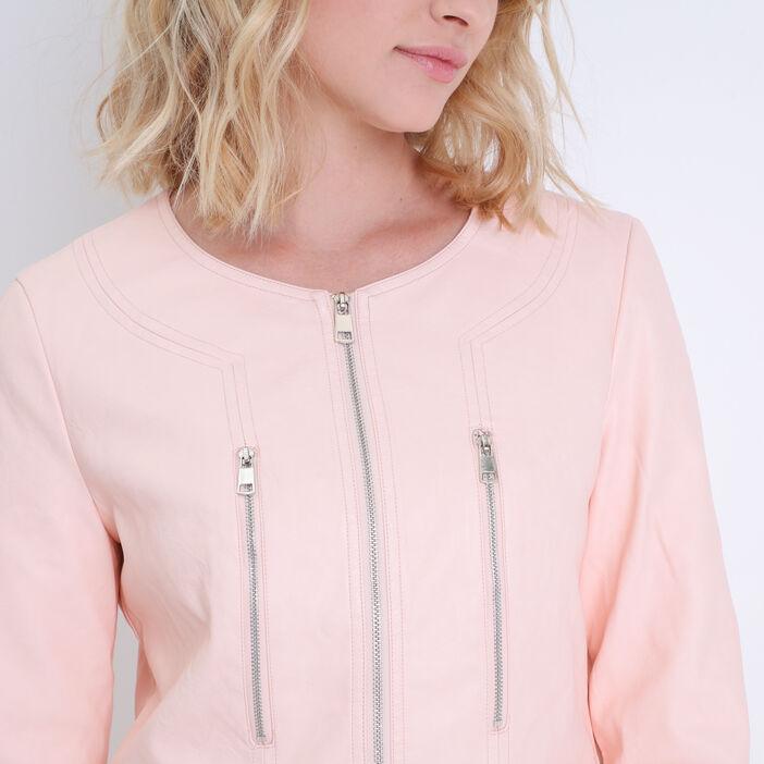 Veste zippée rose clair femme