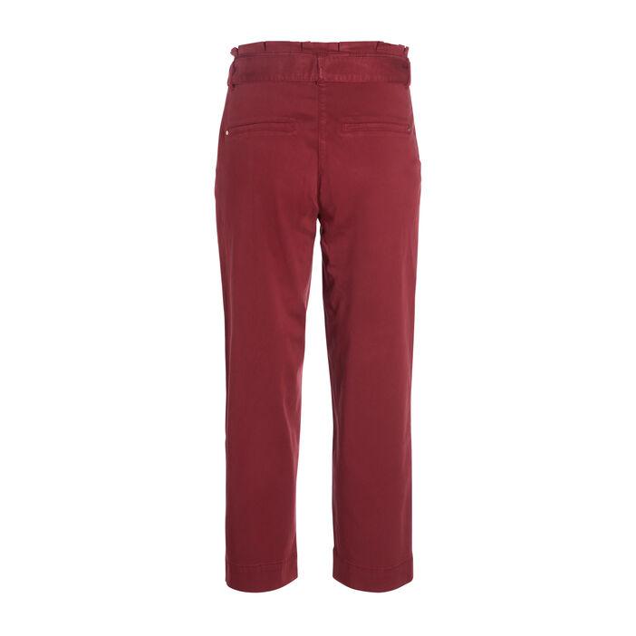Pantalon large taille haute rouge foncé femme