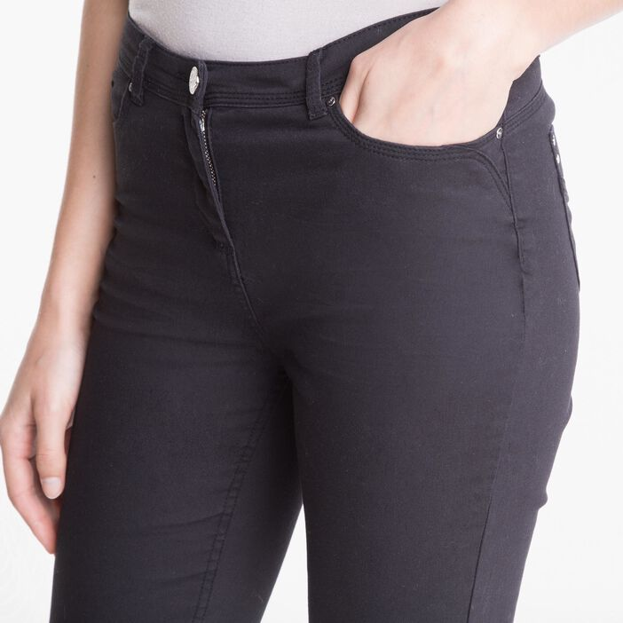 Pantalon 7/8ème ajusté taille basculée noir femme