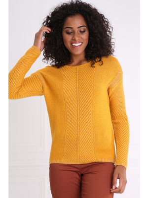 Pull col rond maille cotelee jaune or femme