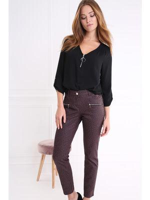 Pantalon taille haute coupe ajustee prune femme