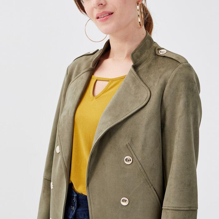 Veste droite effet suédine vert kaki femme