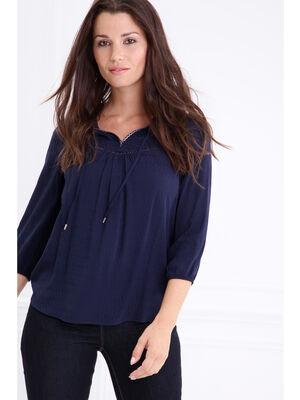 Chemise col tunisien details galons bleu fonce femme
