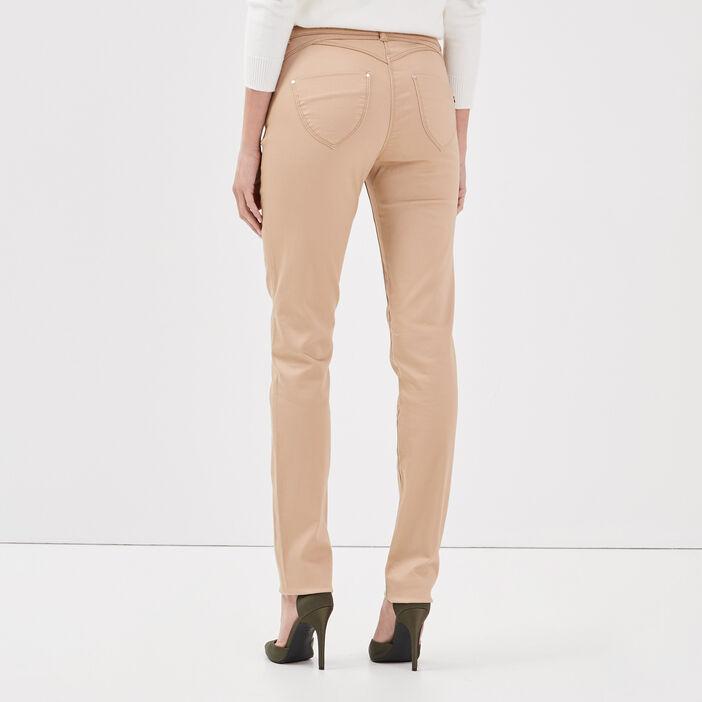 Pantalon ajusté beige femme