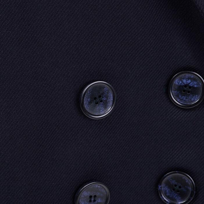 Manteau droit doube boutonnage bleu foncé femme