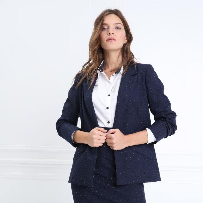 Veste droite col cranté bleu marine femme
