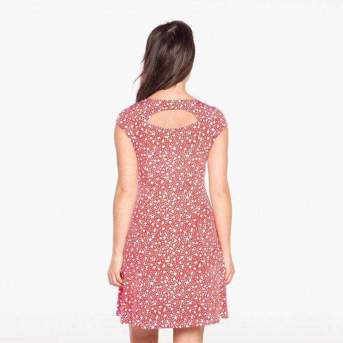 Robe courte fluide col carré pois rouge femme