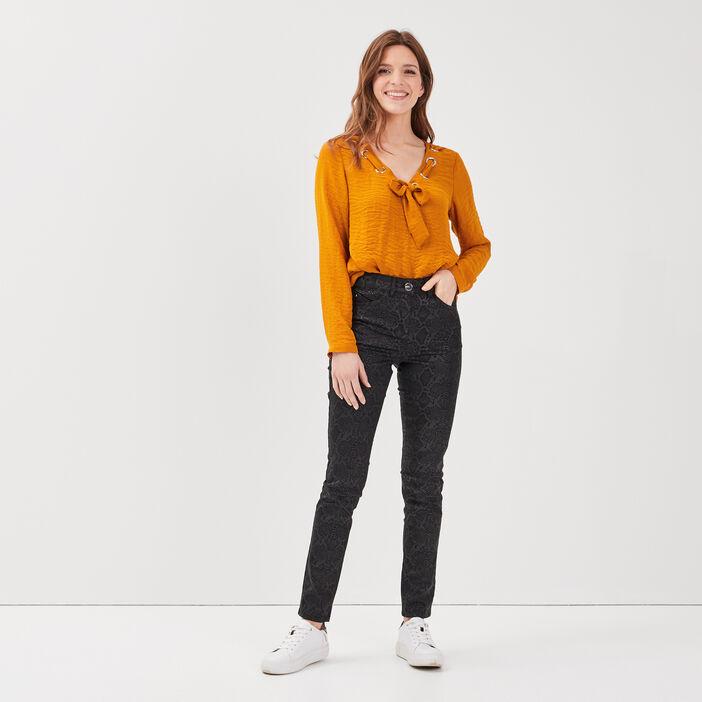 Pantalon taille standard enduit noir femme