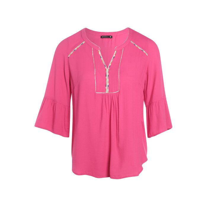Chemise détail col rose fushia femme