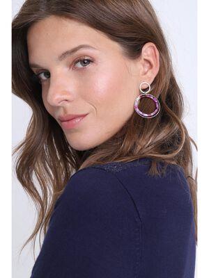 Boucles doreilles anneaux rose femme